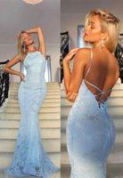 vestido de baile de formatura sem costura venda por atacado-2020 Bebê Sky Sexy Blue Mermaid árabes Prom Dresses Halter Neck mangas completa Lace Criss Cross Voltar Sweep Trem Evening Wear vestidos de festa