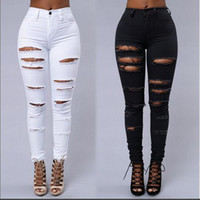 Wholesale fashion tights jeans for sale - Group buy High Street Women Skinny Jeans Sexy Ripped Skin Tight Jeans Fashion Black and White Pencil Denim Pants