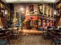 eski duvar kağıdı toptan satış-Avrupa Duvar Kağıdı Retro Eski Şehir Büyük Fotoğraf Kağıdı Duvar Kağıtları Ev Dekorasyonu Sanat Boyama Oturma Odası için Vintage Şehir Gece