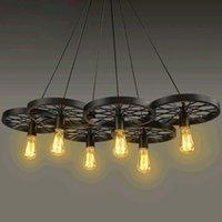 Wholesale Large Bulb Pendant Light - Vintage Antique Metal Art Large Barn Wheels Hanging Pendant Light With 6 Light Head
