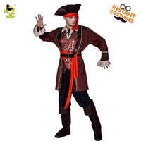 carnaval vestido homem venda por atacado-Festa de Halloween dos homens de Luxo Traje Do Pirata Role Play Fancy Dress Pirata Roupas Trajes de Alta Qualidade Carnaval Festa