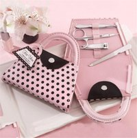 polka dot nägel großhandel-Maniküre Set Tasche für Hochzeitsgeschenk Pink Polka Dot Bag Clipper Pediküre Maniküre Set Kit Tools Fingernagelknipser Scheren Grooming Tools
