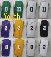7886233cc8c0 New Youth Jersey 11 Kyrie Irving 0 Jayson Tatum 7 Jaylen Brown 0 Kyle Kuzma  2 Kawhi Leonard Green White Black Yellow 2018 Kids Stitched