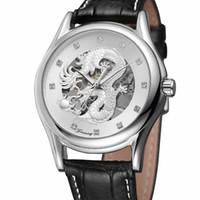 китайские часы оптовых-Silver Case Chinese Dragon Design Black Leather Belt Automatic Mechanical Watches Mens Watches Top  Skeleton Clock
