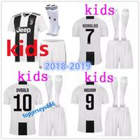 Wholesale boys football kits - 18 19 Juventus RONALDO DYBALA HIGUAIN kids kit soccer jersey 2018-19 juve MARCHISIO MANDZUKIC CHIELLINI BUFFON child Football Shirt uniform