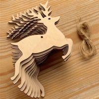 weihnachten hölzern hängen großhandel-10 teile / beutel Natürliche Hölzerne Weihnachten Hängende Verzierung Kreative Elch schneemann Weihnachtsbaum Hängen Holz Handwerk Weihnachtsdekor mit Hanf Seile