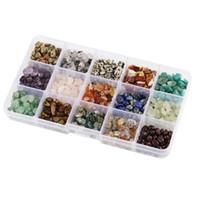 pérolas de pedras venda por atacado-15 Estilo Assorted Chips Stone Beads Esmagada pedaços de Cristal Chunked Irregular Em Forma de Contas Soltas Para DIY Pulseira D846L