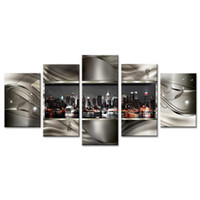 Wholesale contemporary frames canvas prints resale online - 5 Pieces Wall Art Painting Contemporary City Canvas Paint Abstract Pictures Geometric City Night View City Artwork Wall Deco on Framed
