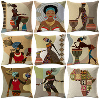 capas de almofadas de diamante quadrado venda por atacado-Mulher africana Dança Capa de Almofada Do Amor Música Felicidade África coleção vida Travesseiro Grosso Linho De Algodão 45X45 cm Quarto Decoração