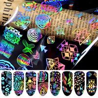 el sanatları çıkartmaları toptan satış-8x Renkli Tırnak Folyo Gül Çiçek Lazer Manikür Sanat Transferi DIY Zanaat Etiket 20x4 cm