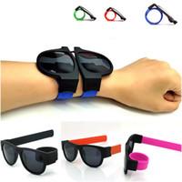 lunettes pliantes pour femmes achat en gros de-Lunettes de soleil femmes Slap Lunettes de soleil Hommes polarisé Slappable Bracelet Poignet Fold Shades Mode Miroir Oculos Coloré GGA134