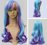 lila blaue mischperücke großhandel-Beliebte Lolita Mode blau lila rosa Mix lang gewellte Cosplay Perücke
