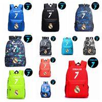 Wholesale college backpacks men - 12colors Ronaldo 7 Noctilucous Luminous Backpacks children school bags cavas women man Shoulders storage bag MMA325 6pcs