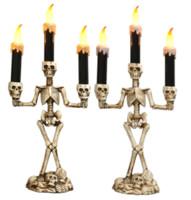 marketing do dia das bruxas venda por atacado-Crânio de Halloween Velas Eletrônicas Velas Coloridas Luz Fantasma Festival Decoração Do Partido Adereços Mercado Casa Atmosfera Ornamentos Velas