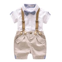 Wholesale korean suits ties - Baby Boy Clothes 2pcs Set Summer Pure Cotton Korean Boys Newborn Baby Gentleman Tie Short Sleeve Suit Children's Boys Clothing