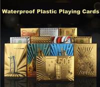 tarjetas de papel de oro al por mayor-Poker Card Gold foil plated Playing Cards Plastic Poker Tarjetas de póquer doradas impermeables Juegos de mesa Dubai 24K plateados