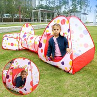 Wholesale up house tent for sale - Group buy 3in1 Foldable Pop Up Play House Hut Tunnel Basketball Kids Tent Cubby Ball Pool Indoor Outdoor Toys Tent