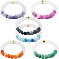 Wholesale Crystal Weather - 6 Color Fashion Hot Originality White Blue Weathering Natural Stone Beads Bracelet With Crystal Gold Bead For Men Women Jewelry G231S