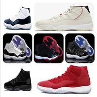 erkekler için basketbol ayakkabıları toptan satış-11 s Platin Tonu Concord 45 Erkek Basketbol Ayakkabıları 11 Cap ve Kıyafeti Karartma Stingray Spor Salonu Kırmızı Midnight Donanma Bred Uzay Reçelleri Spor Sneakers