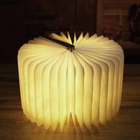 lâmpada de mesa led branco quente venda por atacado-2017 Inovador USB Recarregável LED Dobrável Livro De Madeira Forma Desk Lamp Nightlight Booklight para Home Decor Luz Branca Quente