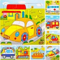 детские игрушки для мальчиков оптовых-Дети дети деревянный мультфильм автомобиль транспорт движение автомобилей мотоцикл вертолет корабль поезд 9 частей головоломки игрушки микс заказать оптом