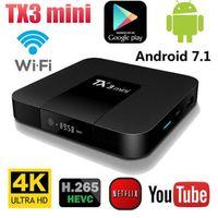receptor de satélite wifi compatible al por mayor-Android 7.1 TX3 Mini Set-top TV Box S905W Quad Core 2GB Ram 16GB ROM 4K Wif HD Streaming Media Caja IPTV