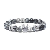 Wholesale Cool Crowns - Cool Punk Vintge Natural Stone Bracelet Luxury Gold King Crown CZ Zirconia Braslet For Men Biker Jewelry pulseira feminina