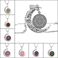 Wholesale Moon Arts - Fashion Moon Pendant Necklace Vintage Silver Color Chain Necklace Mandala Flower Art Picture Glass Cabochon Necklace
