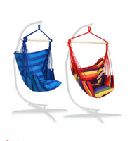 Wholesale portable camping chairs for sale - Group buy Hanging rope chair hanging hammock chair porch swing set with two cushions Patio Camping Portable Stripe chair stand is not included