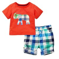 Wholesale kids tracksuits wholesalers - Kidsalon Children Summer Clothing Sets Boys Clothes Kids Cotton Short Outfit Baby Girls Clothing Tracksuit with Animal Applique 2-7T