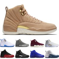 Wholesale red light taxi - 12 12s mens basketball shoes Wheat Dark Grey Bordeaux Flu Game The Master Taxi Playoffs University Gamma French Blue Gym Red Sports sneakers