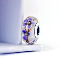 murano roxo venda por atacado-2018 Primavera 2 PCS S925-Sterling-Parafuso Prateado Roxo Wildflowers Vidro Murano Charme Beads Serve Para Pulseiras Europeus ZS353