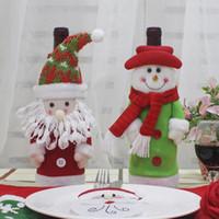bez şişe kapakları toptan satış-Noel Şarap Seti Şişe Kapağı Çanta Dekorasyon Ev Partisi Bez + çekme kumaş, yün Santa Noel Noel Navidad Dekorasyon