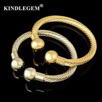 ingrosso braccialetti d'argento africani del braccialetto-Kindlegem Designer Bracciali regolabili per donna Polsini di lusso Grandi braccialetti d'argento oro Dubai African Open Jewelry Materiale rame