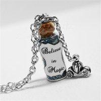 aschenputtel kürbis schmuck großhandel-Glauben 12pcs / lot in der magischen Flaschen-Halskette mit einem Kürbis-Wagen-Charme, Aschenputtel glauben Schmuck