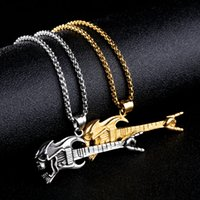 Wholesale drop guitar - Fashion Titanium Steel Charm Pendant Rock Hip Hop Guitar Victory Gesture Musical Instrument Pendant Necklace Support FBA Drop Shipping G873F