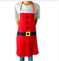 rote küchenschürzen großhandel-Mode Kreative Weihnachten Schürze Frauen Männer Rot Weiche Glatte Sleek Küche Vestidos Restaurant Avental Küche Schürzen Dropshipping