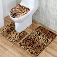 pvc halılar toptan satış-YENI !!! 3 Adet / takım Banyo Kaymaz Leopar Doku Kaide Halı + Kapak Tuvalet Kapağı + Banyo Paspas