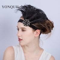 Wholesale Ostrich Hat - National Indian feather Headdress with rhinestone halloween Party Native War Bonnet Hat nice BLACK Ethnic ostrich feather headwear SYF181