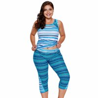 Wholesale two piece swimwear for plus size for sale - 2018 Summer Female Blue Two Piece Big Plus Size Swimwear XXXL Multiple Zigzag Print Tankini and Capris Set For Women