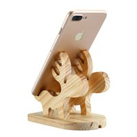 Wholesale wooden stand for tablets online – Lovely Moose Wood Holder Natural Wooden Cute Phone Tablet Desk Stand Holder Charging Dock For iPhone iPad Samsung