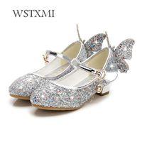 parıltı dansı elbiseleri toptan satış-Kızlar için çocuk Ayakkabı Yüksek Topuk Prenses Sandalet Moda Çocuklar Ayakkabı Glitter Deri Kelebek Kız Parti Elbise Düğün Dans Y18110304