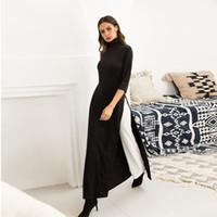 ingrosso giacca nera maxi casual-Vestito nero da donna autunno elegante abiti in maglia elastica autunno plus size M-2XL Split gonna spedizione gratuita