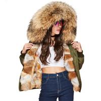 mini chaqueta al por mayor-Nuevo invierno High Fashion street Women's Luxurious real fox fur liner bomber jacket mini parka abrigo con capucha warm Outwear