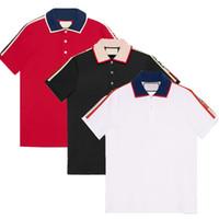 nuevos diseños de la camiseta del polo al por mayor-Marca nueva moda de diseño clásico de lujo hombres polo camiseta bordado de la abeja de la serpiente para hombre polos