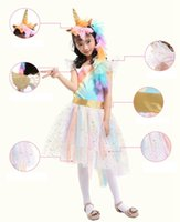 Wholesale golden unicorn - Kids Girls Unicorn Outfit Tutu Dress Rainbow Party Princess Cosplay Costume Set with 1 Unicorn Corn Headband+1 Golden Wings BBA126