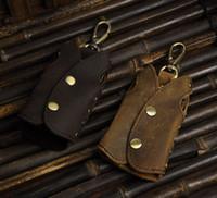 billetera masculina de cuero de caballo loco vintage al por mayor-Crazy Horse Leather Men Vintage Key Wallet Llavero multifuncional 100% cuero genuino llavero monedero para hombre hecho a mano