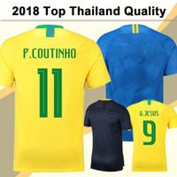 Wholesale mens world - 2018 World Cup P.COUTINHO Soccer Jersey G.JESUS PAULINHO Mens Football Jerseys National Team D.COSTA MARCELO Home Away Training Suit