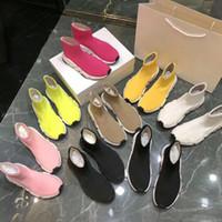 logos de zapatos de botas al por mayor-Nombre Calzado alto Unisex Calzado plano Calcetines de moda Botas Mujer New Slip-on Tela elástica Speed Trainer Runner 35-39 + BOX + LOGO