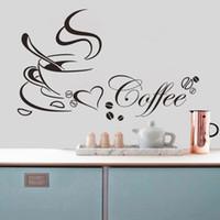 Wholesale Kitchen Tile Decals - Removable Convenient Kitchen Decor Popular Art Coffee Cup Home Decals Kitchen Wallpaper Vinyl Art Wall Sticker pegatinas pared